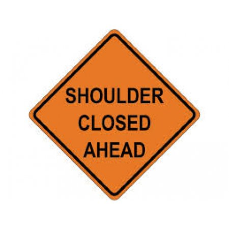 "48"" x 48"" Reflective Roll-up Sign - Shoulder Closed Ahead"